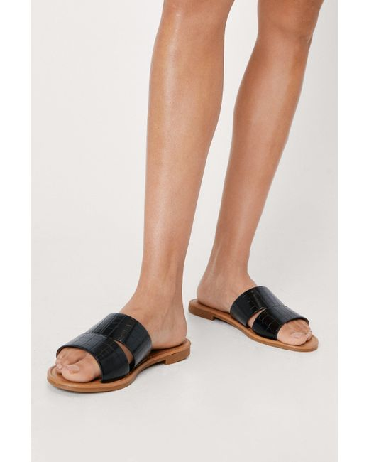 Nasty Gal Black Wide Fit Faux Croc Strap Flat Sandals
