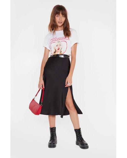 Nasty Gal Black Button Down Satin Midi Skirt