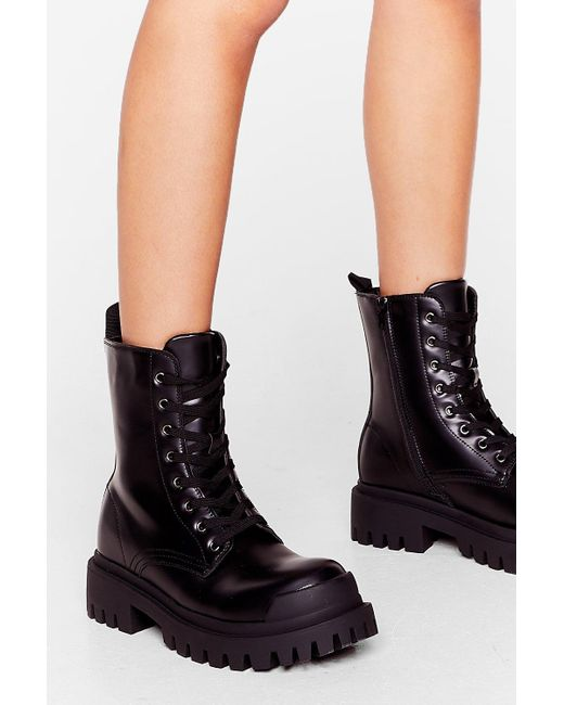 Nasty Gal Black Action Woman Chunky Lace-up Boots