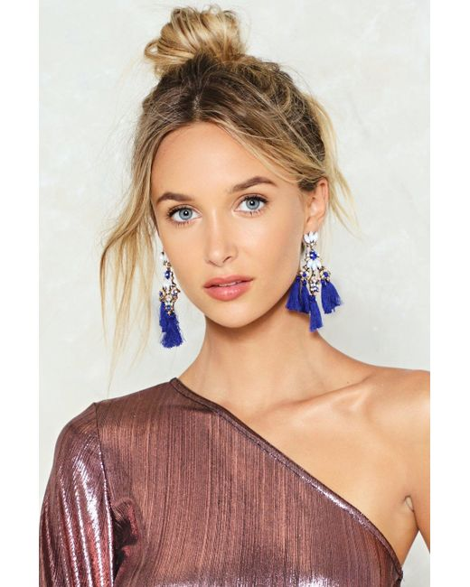 Nasty Gal | Blue Mixed Stone Tassel Earrings Mixed Stone Tassel Earrings | Lyst