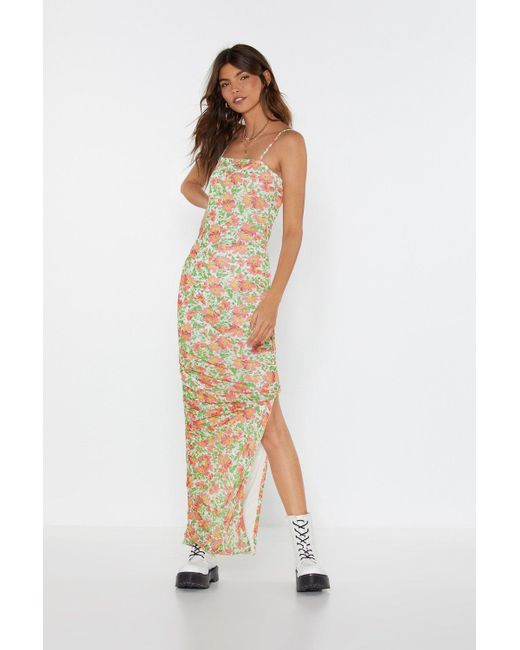 """Nasty Gal Red """"be-leaf In Yourself Floral Maxi Dress"""""""