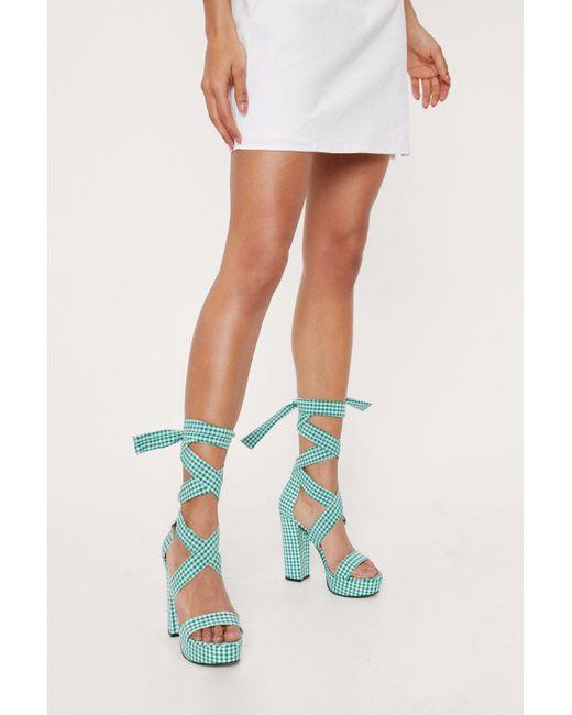 Nasty Gal Green Gingham Print Wrap Tie Platform Heels