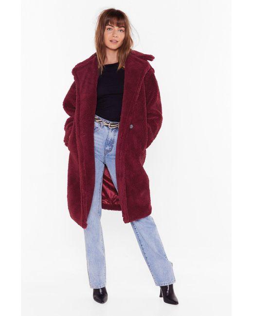 "Nasty Gal Red ""warm Love Faux Fur Coat"""