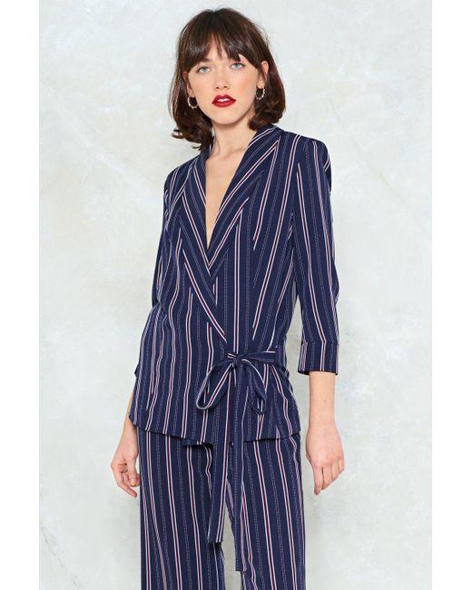 Nasty Gal - Blue Striped Tie Waist Blazer Striped Tie Waist Blazer - Lyst