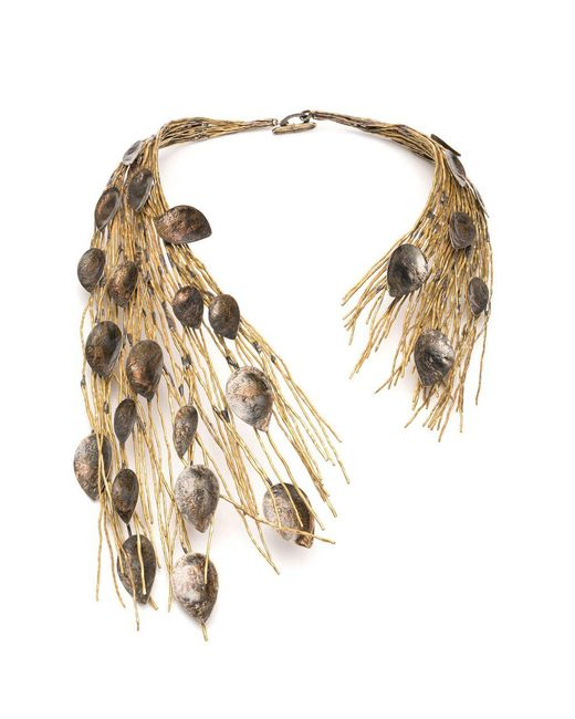 Natori - Metallic Josie Gold Plated Brass Peacock Necklace - Lyst