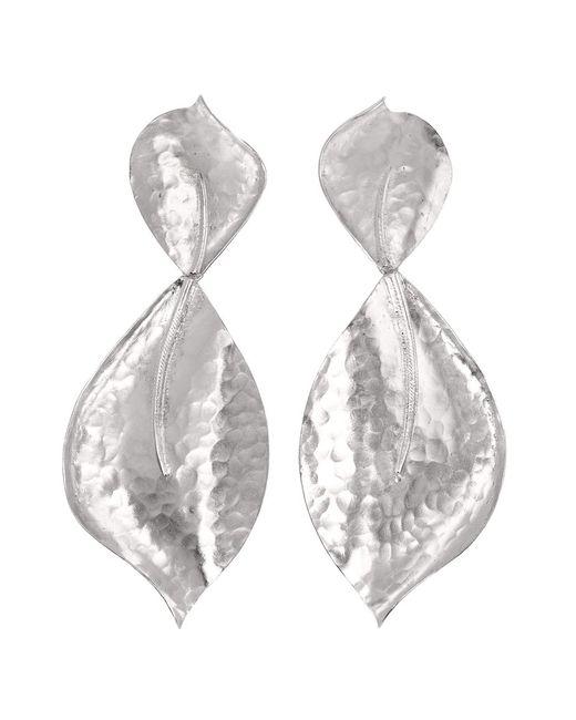 Natori   Metallic Hammered Metal Two Leaf Earrings   Lyst