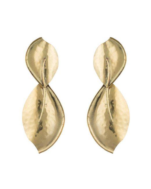 Natori - Metallic Josie Brass Leaf Earrings - Lyst