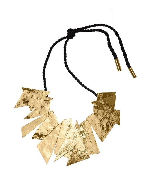 Natori - Metallic Josie Hammered Brass Buffed Geometric Necklace - Lyst