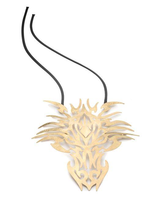 Natori | Metallic Josie Hammered Brass Dragon Head Necklace | Lyst