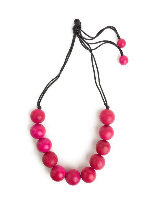 Natori   Josie Large Wood Bead Necklace - Rose Pink   Lyst