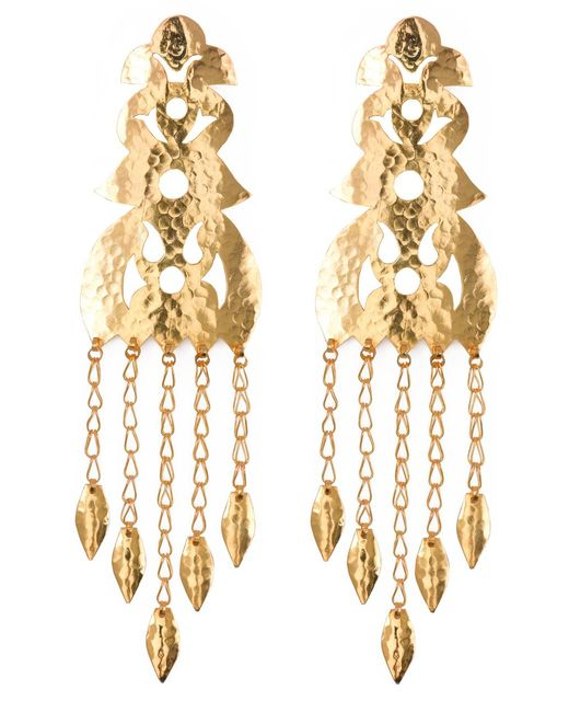 Natori | Metallic Hammered Gold Long Earrings | Lyst