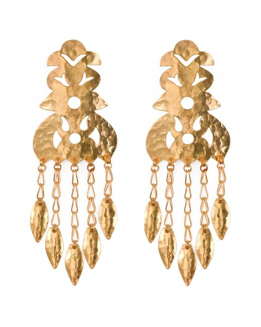 Natori | Metallic Hammered Gold Crown Earrings | Lyst