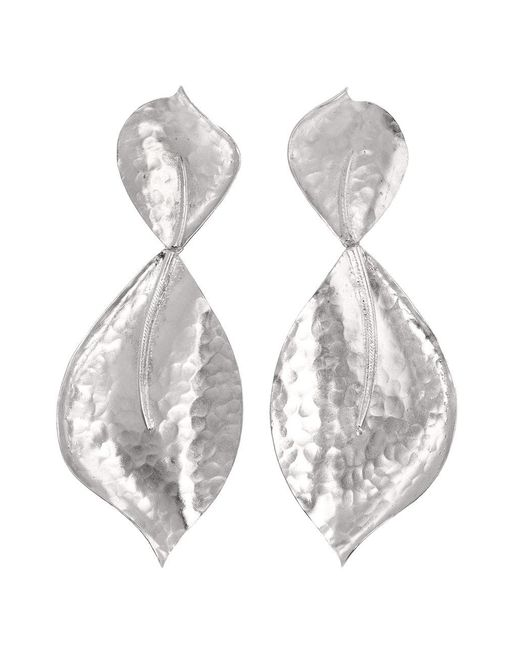 Natori - Metallic Hammered Metal Two Leaf Earrings - Lyst