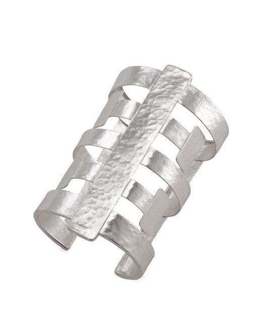 Natori Metallic Silver Geo Cuff