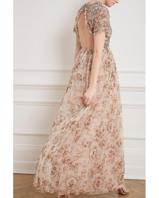 aca74913a04 Lyst - Needle   Thread Andromeda Garland Cap Sleeve Gown in Pink