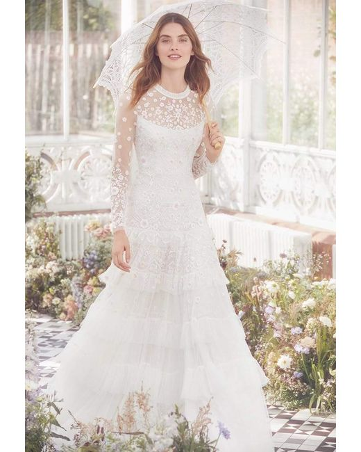 Needle Thread Lace Gracie Long Sleeved Bridal Gown In Ivory