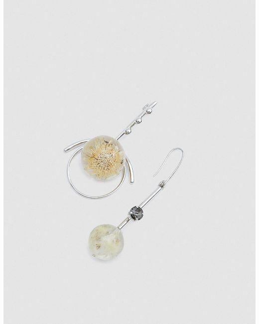 Marni | Metallic Mixed Earrings With Spheres In Palladium | Lyst