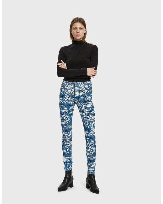 5e168bf61b1c ... Off-White c o Virgil Abloh - Blue Printed Skinny Jeans - Lyst ...
