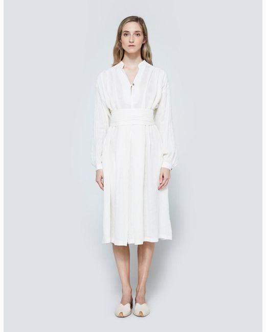 Black Crane   White Poet Dress In Eggshell   Lyst