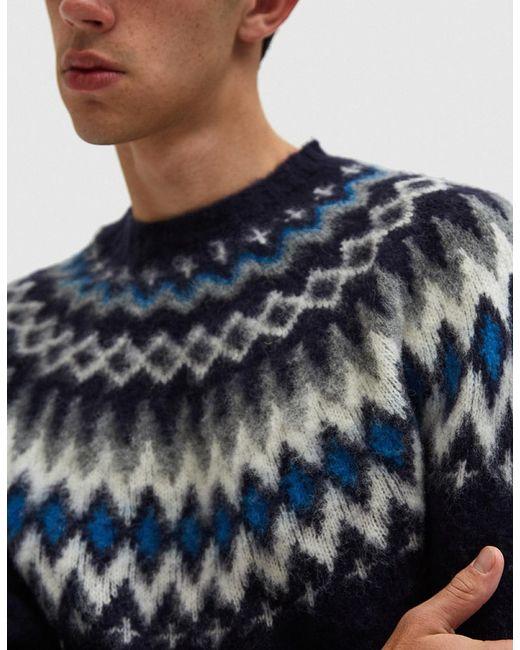 Norse projects Birnir Fairisle Sweater In Navy in Blue for Men | Lyst