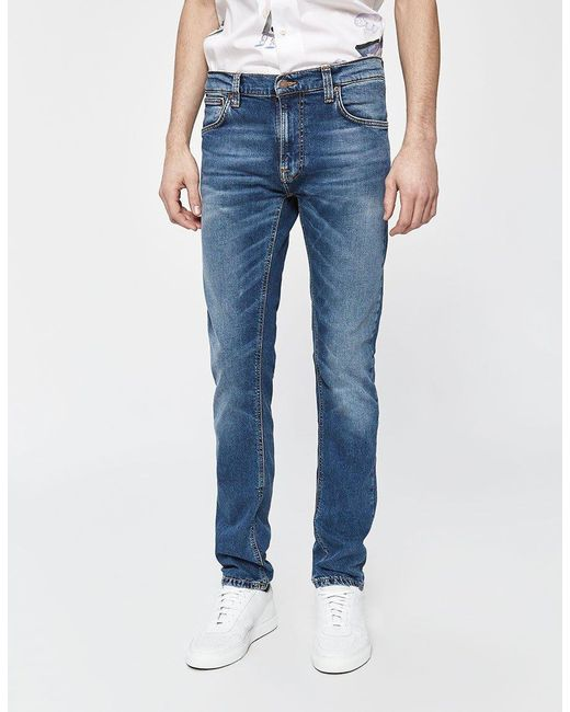 10d7ce7c6a90 ... Nudie Jeans - Thin Finn Mid Blue Ecru Denim for Men - Lyst ...