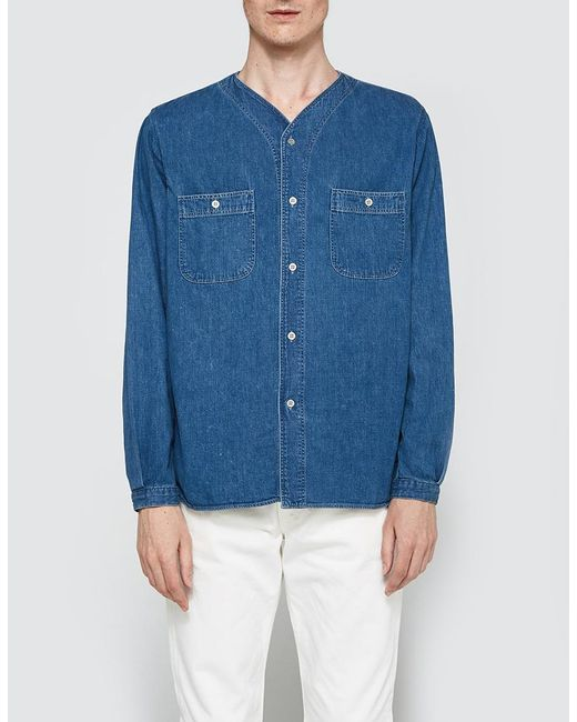 b74b6ab8df Lyst - Orslow No Collar Work Shirt in Blue for Men