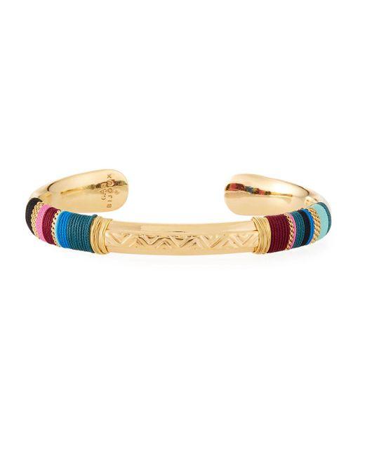 Gas Bijoux Massai Embossed Cuff Bracelet, Blue