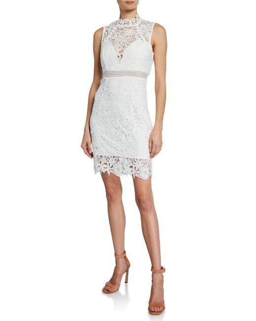 Bardot White Paris Floral Lace Bodycon Cocktail Dress