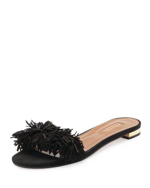 Aquazzura - Black Wild Thing Suede Flat Slide Sandal - Lyst