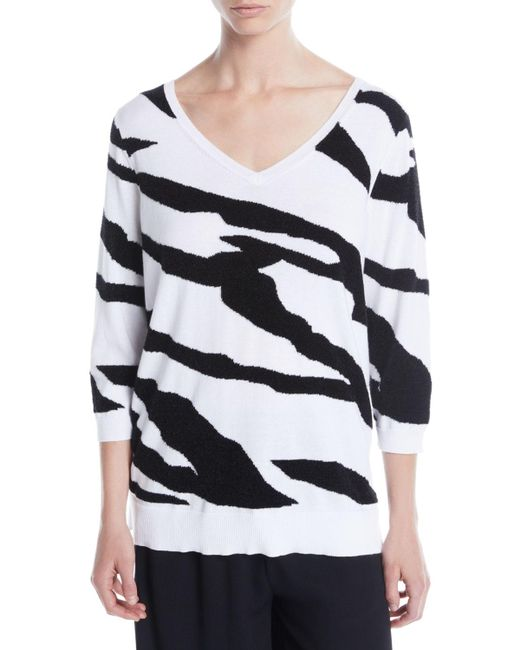 Joan Vass - Black 3/4-sleeve Zebra Pullover Sweater - Lyst