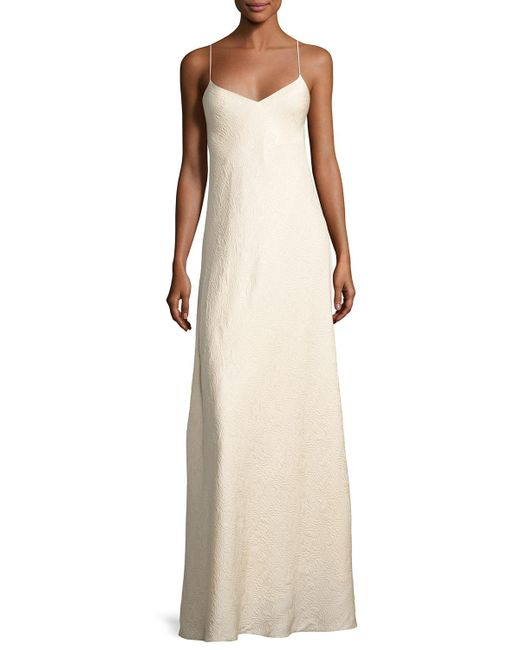 The Row - Natural Vera Cloqué V-neck Gown - Lyst