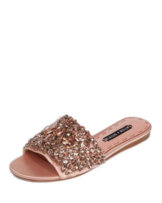 Alice + Olivia - Pink Abbey Jeweled Satin Sandal - Lyst