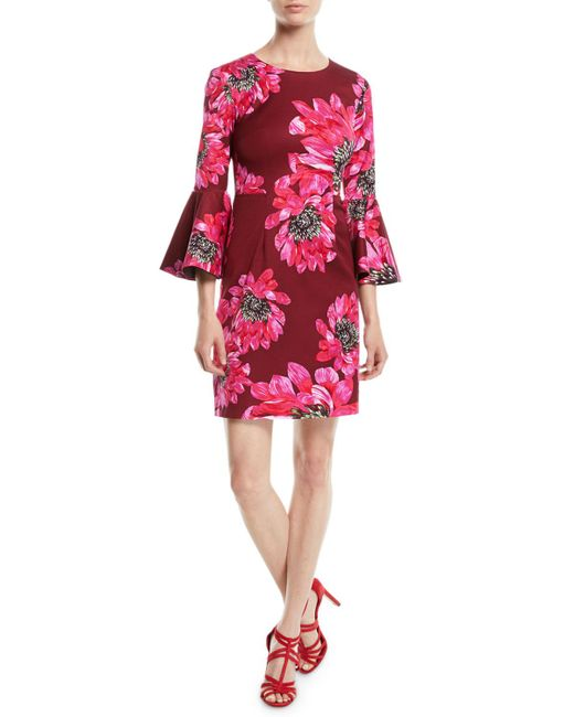 Trina Turk - Red Trumpet-sleeve Sheath Dress In Macro Floral Print - Lyst