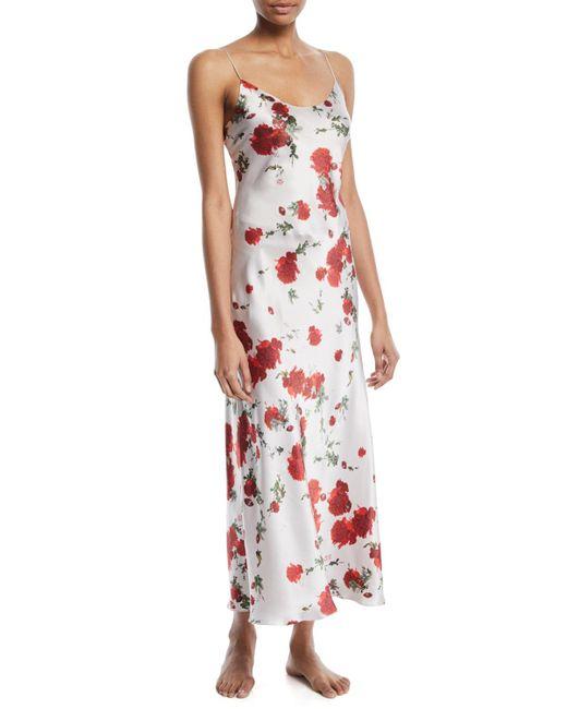 Meng - Multicolor Rose-print Silk Long Slip Nightgown - Lyst