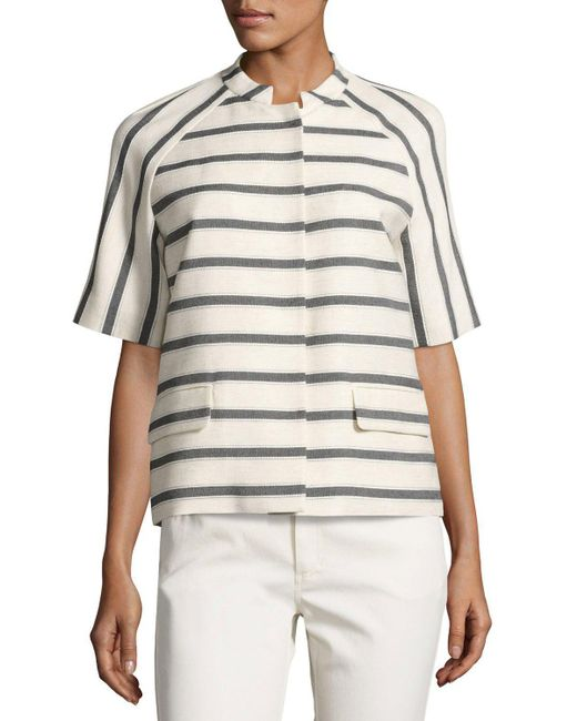 Lafayette 148 New York   Multicolor Ethan Half-sleeve Snap-front Striped Jacket   Lyst