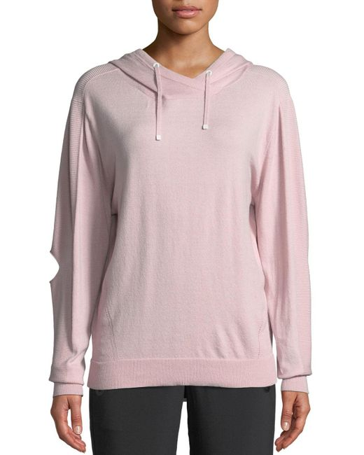 BLANC NOIR - Pink Clandestine Hooded Open-elbow Pullover Sweater - Lyst