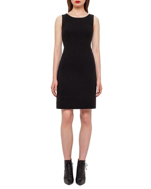 Akris - Black Wool Crepe Double-hem Dress - Lyst