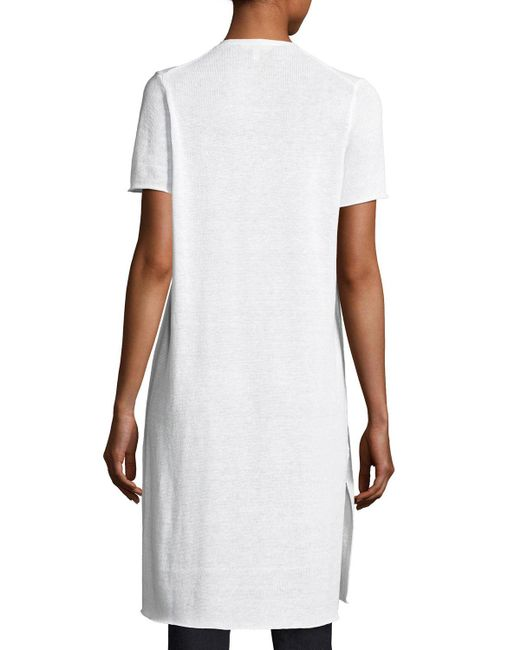 Eileen Fisher | White Organic Linen Knit Long Cardigan | Lyst