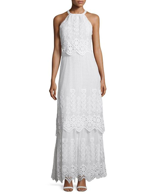 Miguelina | White Edna Crocheted-lace Halter Cotton Maxi Dress | Lyst
