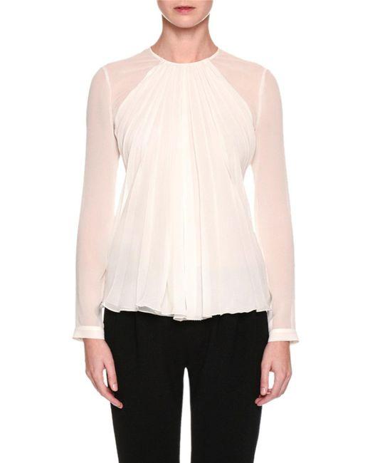 Giorgio Armani | White Long-sleeve Gathered Silk Georgette Blouse | Lyst