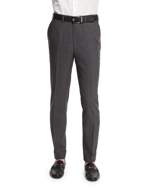 Brioni - Gray Micro-tic Flat-front Trousers Charcoal for Men - Lyst