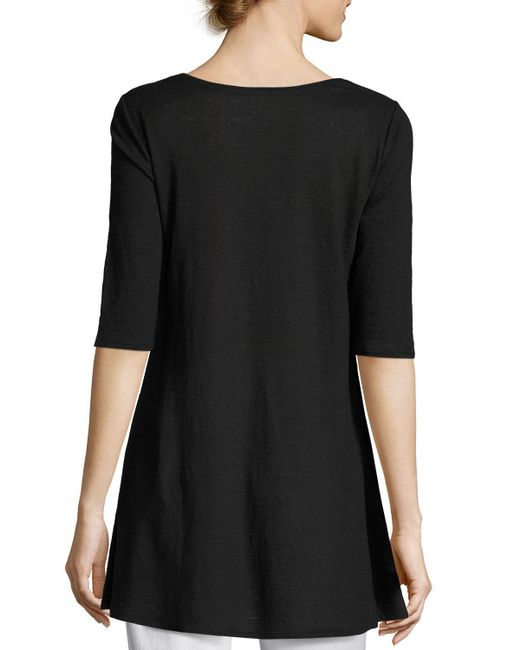 Eileen Fisher | Gray Half-sleeve Linen Jersey Layering Tunic | Lyst