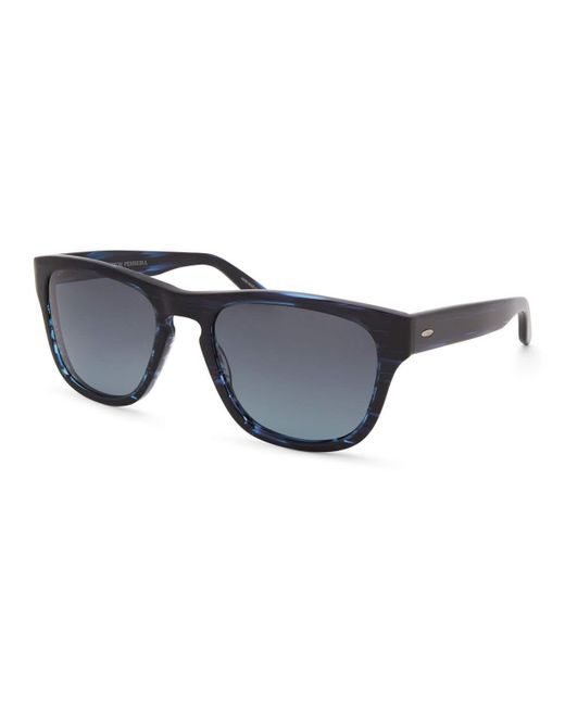 Barton Perreira Blue Men's Bunker Plastic Square Polarized Sunglasses for men