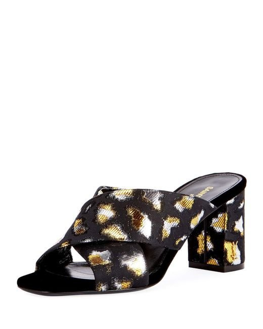 Saint Laurent | Loulou Metallic Leopard Jacquard Slide Sandal | Lyst