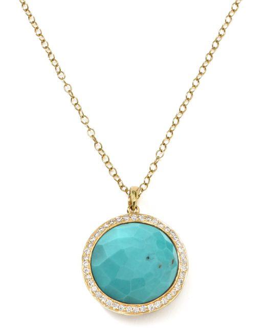 Ippolita | Metallic Gold Rock Candy Lollipop Diamond Turquoise Pendant Necklace | Lyst