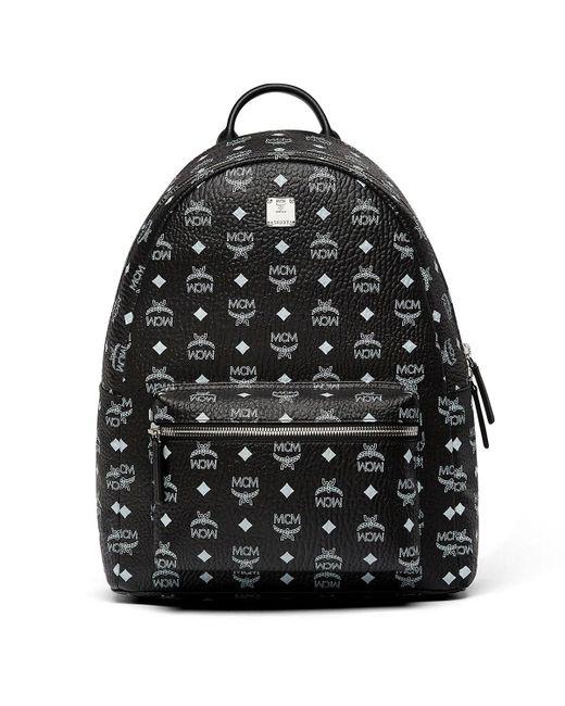 MCM - Black Stark White Logo Backpack In Visetos for Men - Lyst