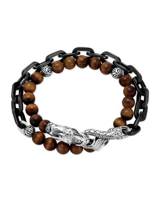 John Hardy | Metallic Naga Tiger's Eye Stainless Steel Double-wrap Link Bracelet | Lyst