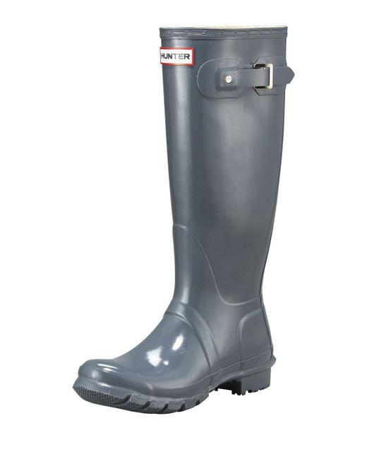 Hunter - Gray Tall Gloss Boot - Lyst