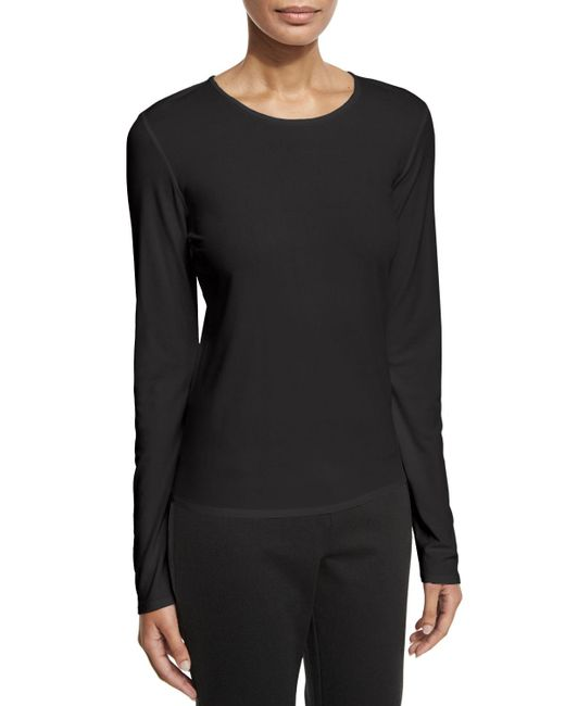 Eileen Fisher | Black Long-sleeve Silk Crewneck Tee | Lyst