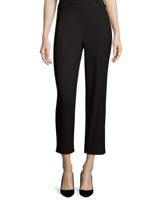 Eileen Fisher | Black Organic Stretch Twill Slim Ankle Pants | Lyst